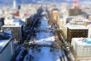 tilt shift, Cityscape, Sapporo, Japan