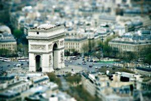 tilt shift, Paris, Cityscape, Blurred, Architecture, Arc de Triomphe