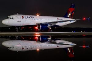 aircraft, Passenger aircraft, Night, Reflection