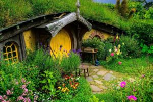Hobbits, House, Cottage, Garden