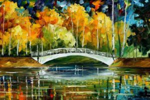 painting, Bridge, Colorful, Leonid Afremov