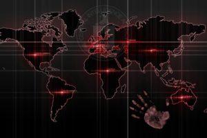 handprints, Map, Technology, Streaks, World