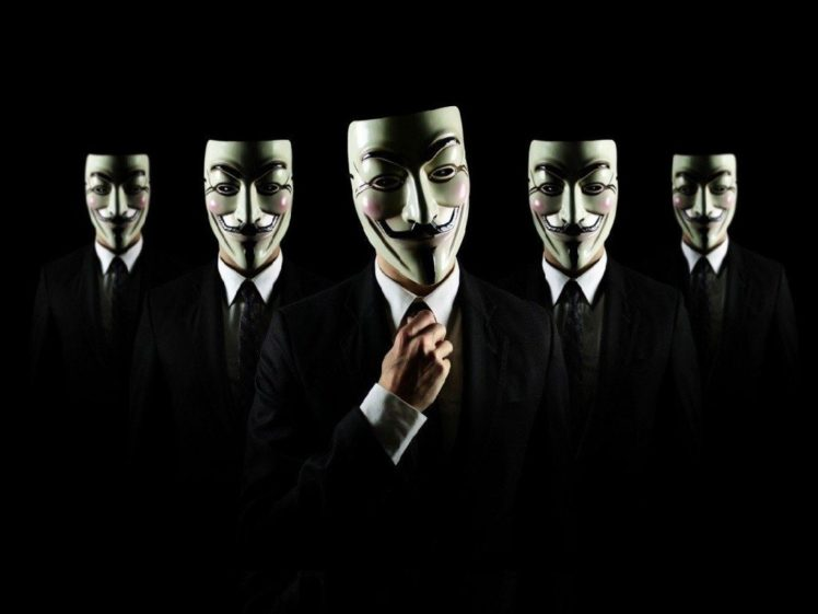 Anonymous Men Suits Guy Fawkes Mask Black Background HD Wallpaper Desktop
