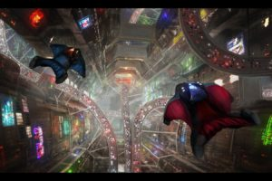 wingsuits, Heights, Cityscape, Road, Night, Futuristic