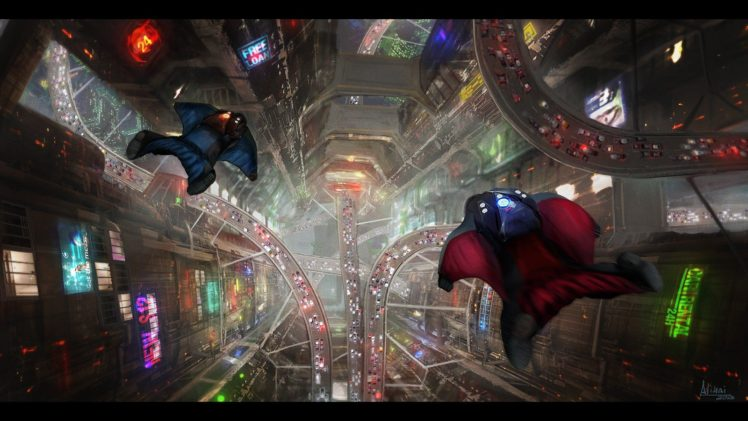wingsuits, Heights, Cityscape, Road, Night, Futuristic HD Wallpaper Desktop Background