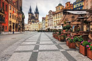 architecture, Prague, Czech Republic, Clocktowers, Old building, Cafeteria, City, Town square, Cathedral
