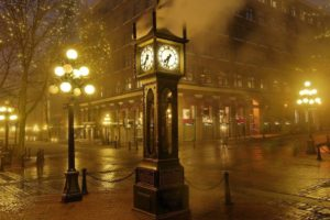 photography, Clocks, Street light, Mist, Street, Cityscape