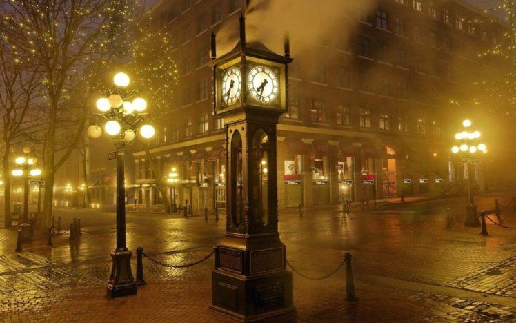 photography, Clocks, Street light, Mist, Street, Cityscape HD Wallpaper Desktop Background