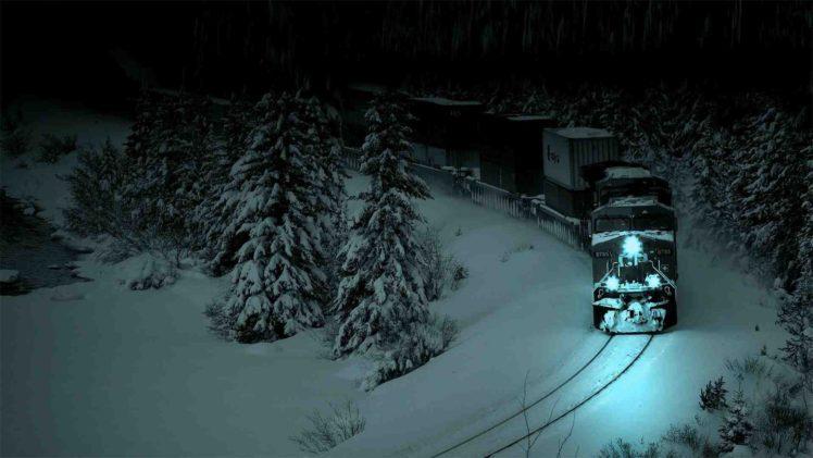 Photography Freight Train Diesel Locomotives Night Snow HD Wallpaper Desktop