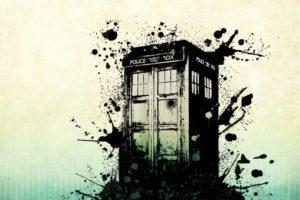 science fiction, TARDIS, Vector art, Paint splatter, Phone box
