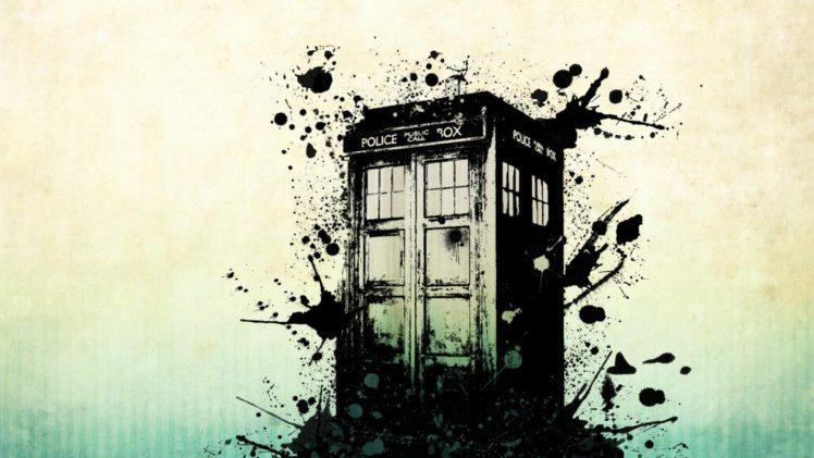Science Fiction Tardis Vector Art Paint Splatter Phone Box Hd