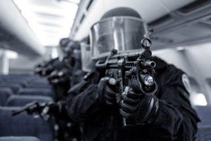 police, Gun, Closeup, Airplane
