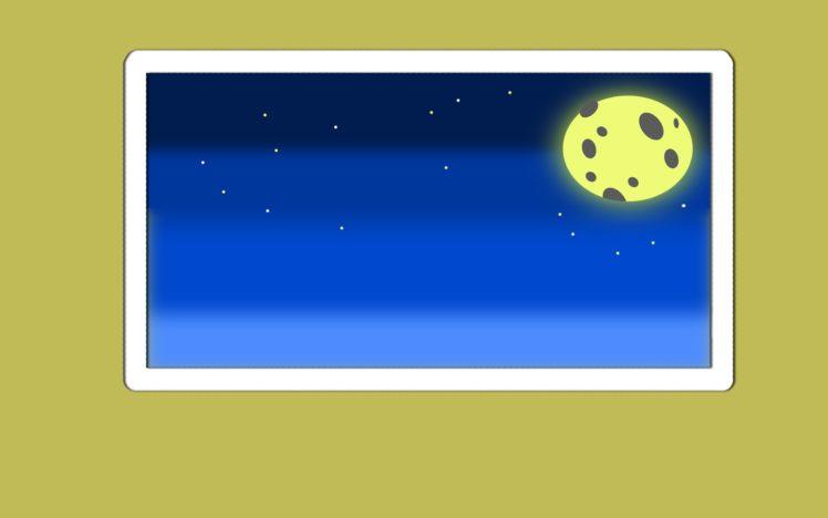 night, Minimalism, Moon, Colorful HD Wallpaper Desktop Background