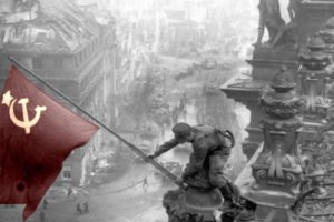 USSR, Photography, Selective coloring, Flag, Ruin, War, World War II, Stalingrad