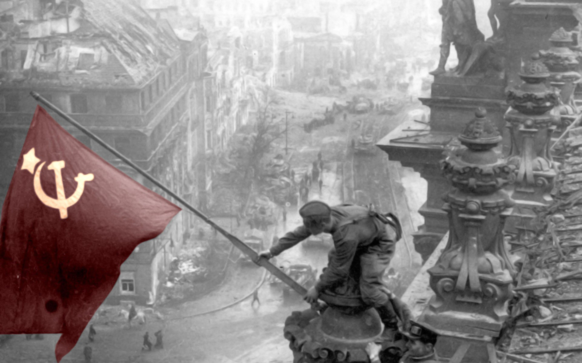 USSR Photography Selective Coloring Flag Ruin War World II Stalingrad HD Wallpapers Desktop And Mobile Images Photos