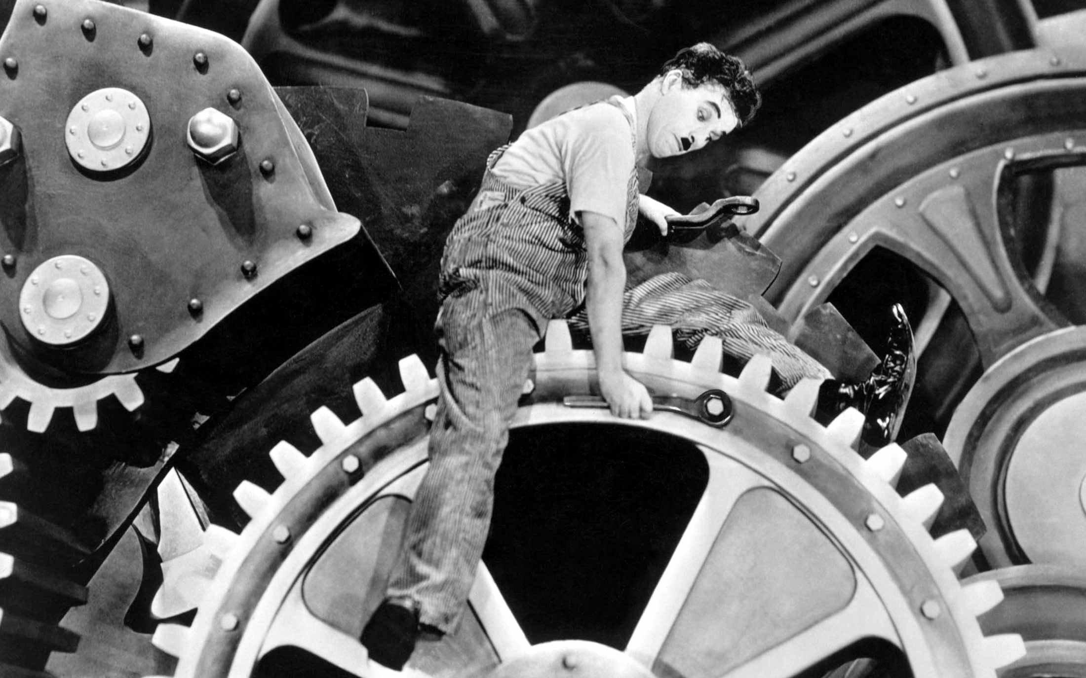 Modern Times, Charlie Chaplin, Gears, Machine Wallpaper