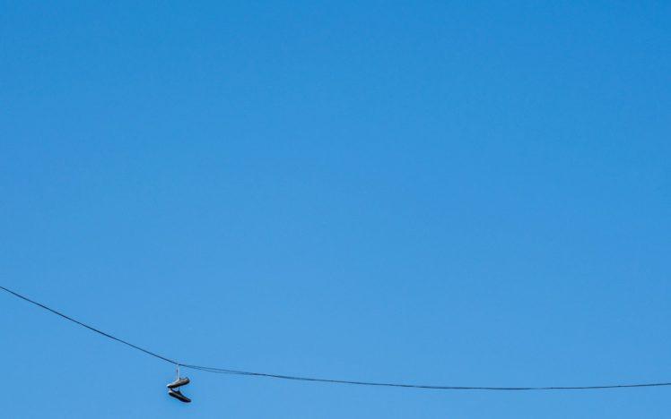 minimalism, Blue background, Ropes, Shoes HD Wallpaper Desktop Background