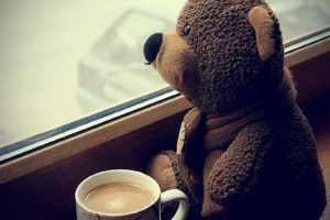 teddy bears, Coffee, Cup, Sitting, Sad