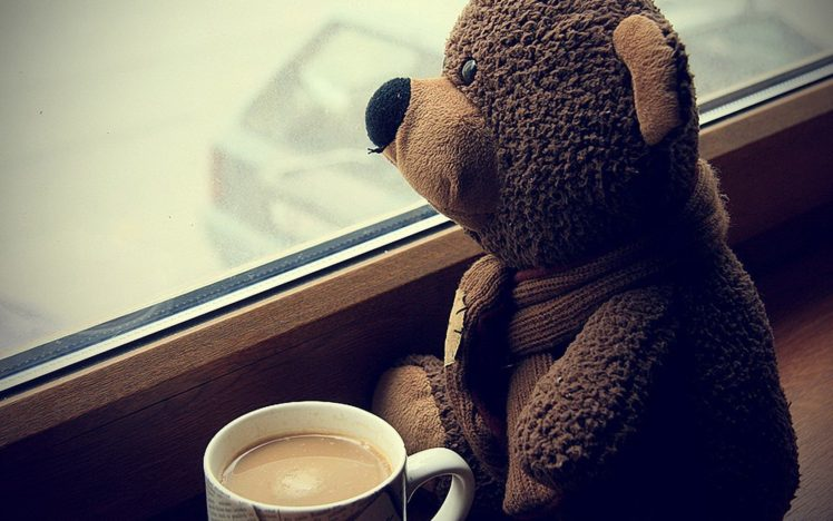 teddy bears, Coffee, Cup, Sitting, Sad HD Wallpaper Desktop Background