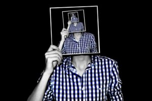creativity, Photo manipulation, Men, Checkered, Shirt, Picture frames, Multiple display, Optical illusion, Black background, Selective coloring, Recursion