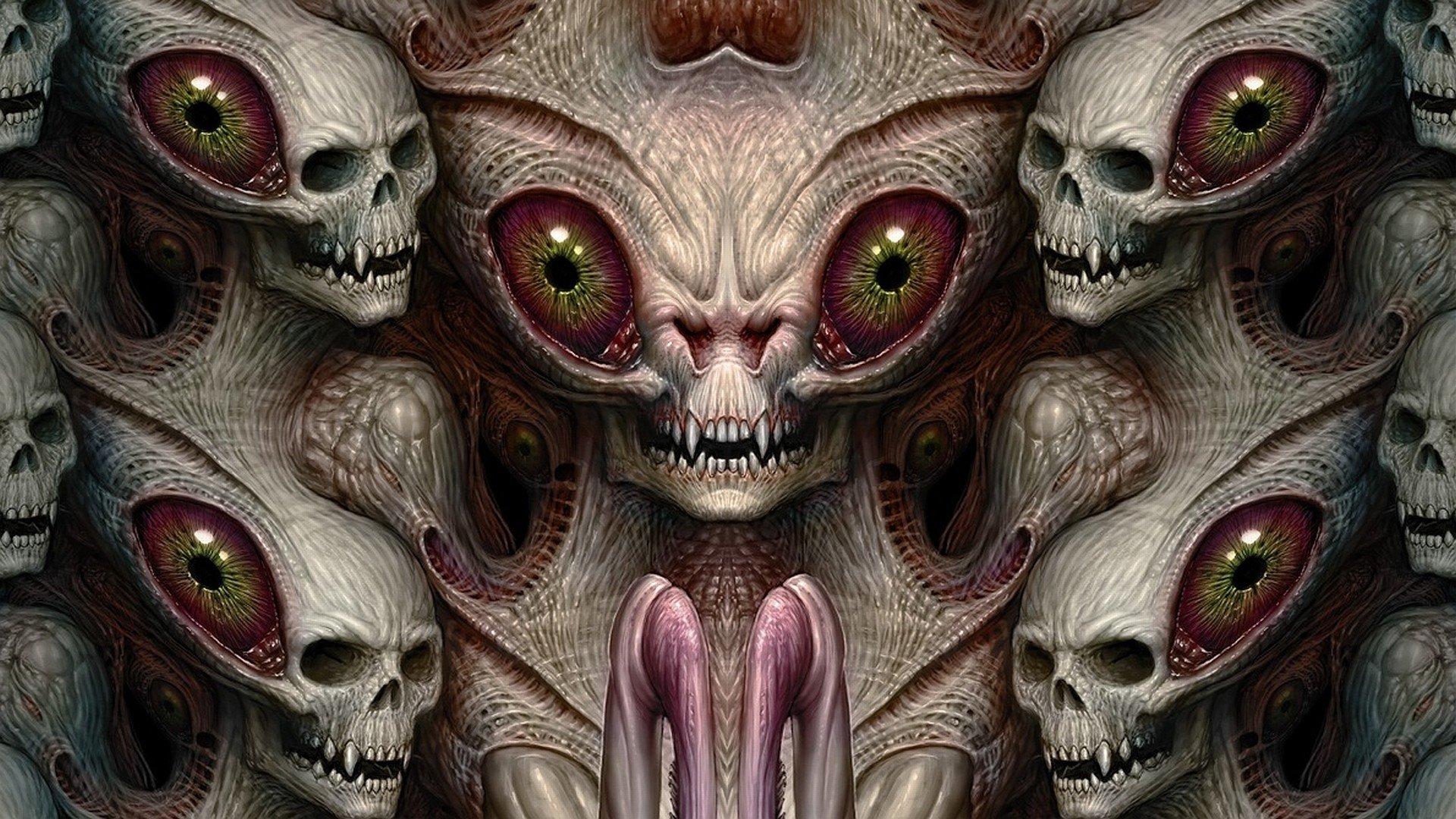 aliens, Creature, Drawing, Skull, Eyes, Teeth, Symmetry Wallpaper