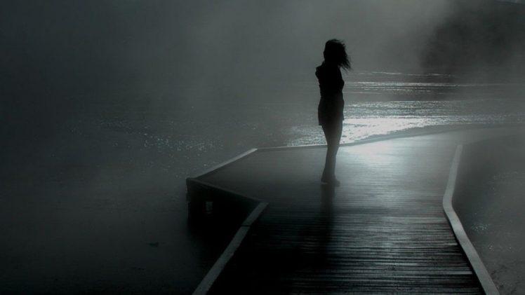 dock, Mist, Monochrome, Silhouette HD Wallpaper Desktop Background