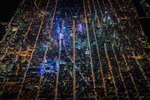 Times Square, USA, Night, City, Aerial view