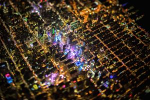 New York City, Tilt shift, Times Square, USA, Night, City, Aerial view
