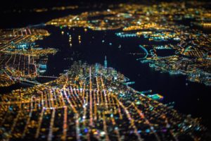 New York City, Tilt shift, USA, Night, City, Aerial view, Cityscape, Lights, Bokeh