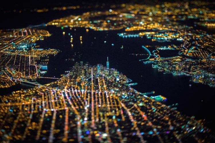 New York City Tilt Shift Usa Night City Aerial View Cityscape Lights Bokeh Hd Wallpapers Desktop And Mobile Images Photos