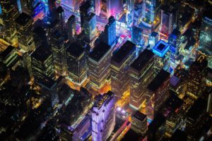 New York City, Times Square, USA, Night, City, Aerial view