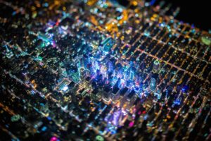 tilt shift, USA, Night, City, Aerial view, Cityscape, Lights
