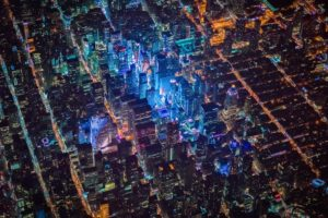 New York City, Times Square, USA, Night, City, Aerial view, Cityscape, Lights