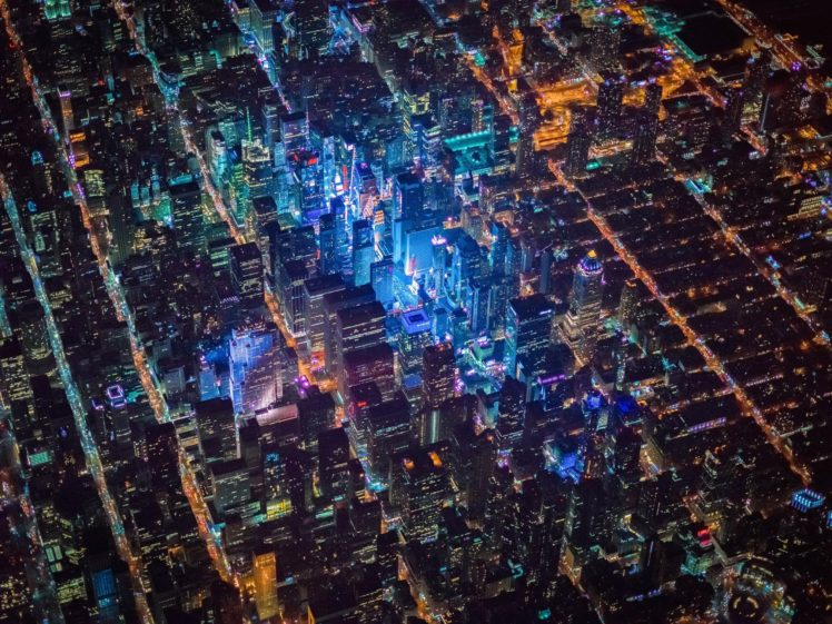 New York City, Times Square, USA, Night, City, Aerial view, Cityscape, Lights HD Wallpaper Desktop Background