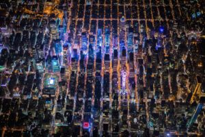 New York City, Times Square, USA, Night, City, Aerial view
