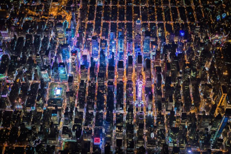 New York City, Times Square, USA, Night, City, Aerial view HD Wallpaper Desktop Background