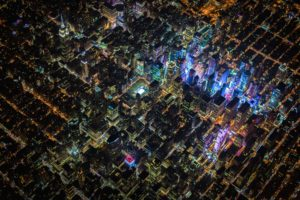 New York City, USA, Night, City, Aerial view, Skyscraper