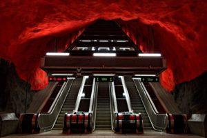 escalator, Stockholm, Sweden, Metro, Tunnel, Underground, Cave, Train station
