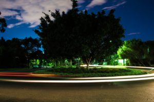 roundabouts, Long exposure, Road, Trees, Night, HDR, Lights