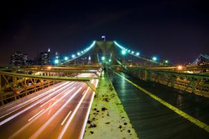 architecture, Bridge, Long exposure, Night, Street light, Skyscraper, Cityscape, Rust, Brooklyn Bridge, New York City, USA