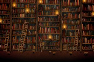 books, Vladstudio, Shelves, Library, Ladders, Candles