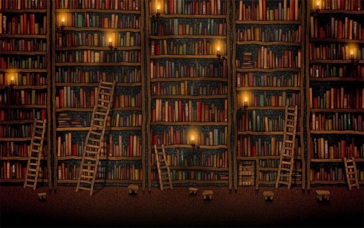 books, Vladstudio, Shelves, Library, Ladders, Candles HD Wallpaper Desktop Background