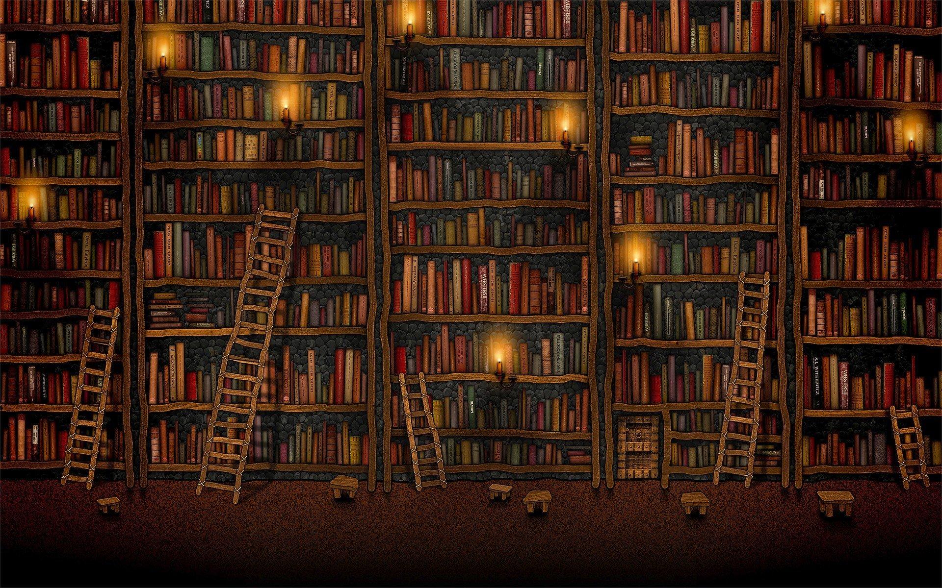 books, Vladstudio, Shelves, Library, Ladders, Candles Wallpaper