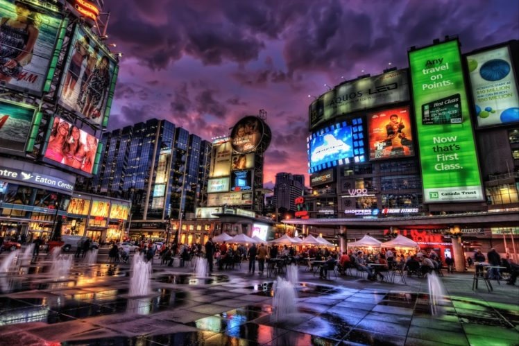 Hdr Cityscape Town Square Toronto Canada Hd Wallpapers