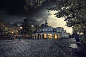 Stone house, House, Gates, Street light