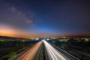 highway, Night, Road, Light trails, Cyprus, Milky Way