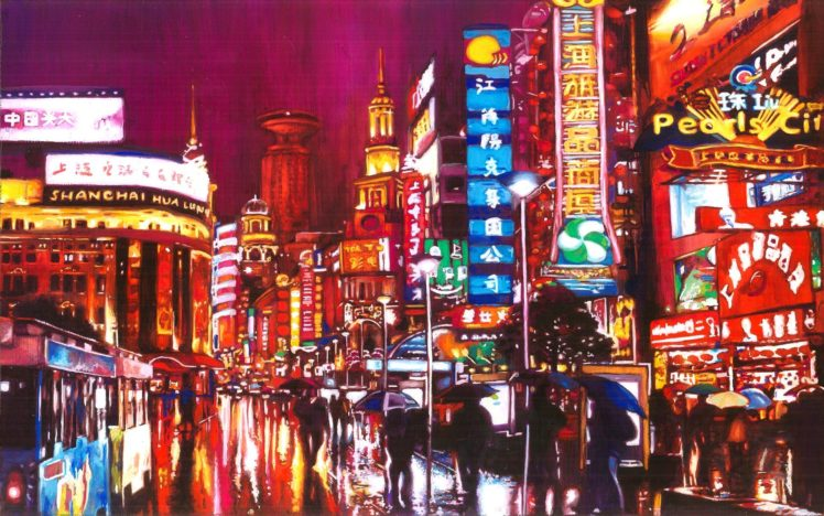 Painting City Shanghai Hd Wallpapers Desktop And Mobile