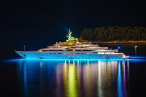 boat, Night, Lights, Yachts, Reflection, Water, Ship, Trees