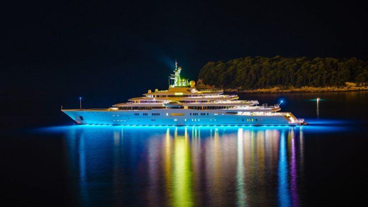 boat, Night, Lights, Yachts, Reflection, Water, Ship, Trees HD Wallpaper Desktop Background