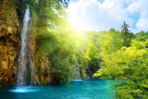 waterfall, Sun, Sunlight, Water